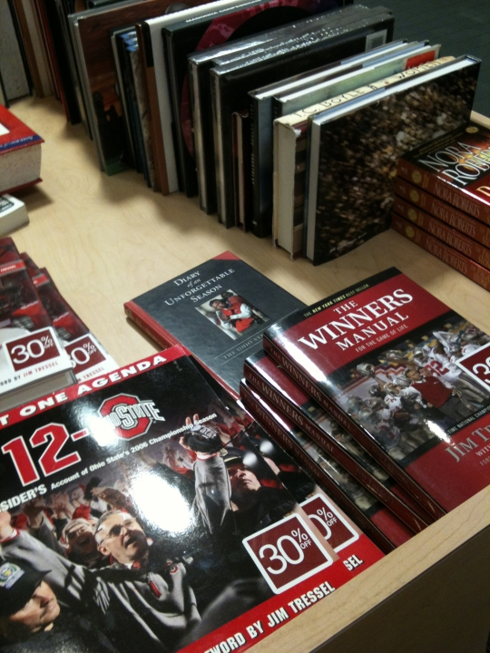 Discount books on Jim Tressel at Ohio State bookstore